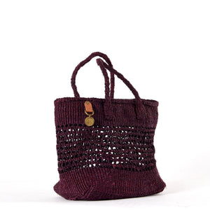 Handwoven Plaited Tote Bag in Burgundy. Made from Sisal, a sustainable natural material.