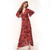 Rosa Maxi Dress - Rust Tulip Print