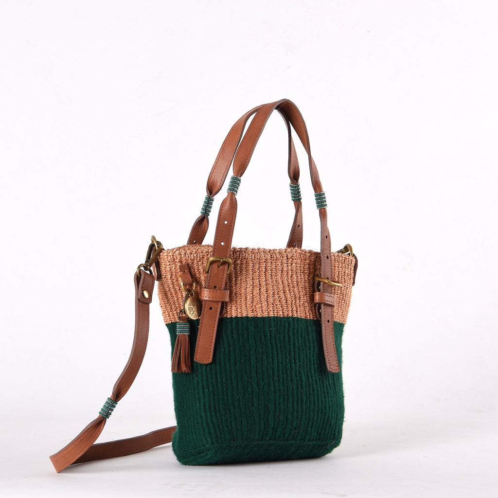 Green Handwoven Safari Bag. Your sustainable everyday bag made from sustainable materials - Sisal, Recycled Wool, Leather and Maasai Beads