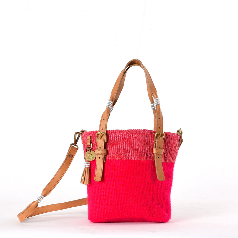 Hot Pink Handwoven Safari Bag. Stand out of the crowd. Your sustainable everyday bag made from sustainable materials - Sisal, Recycled Wool, Leather and Maasai Beads