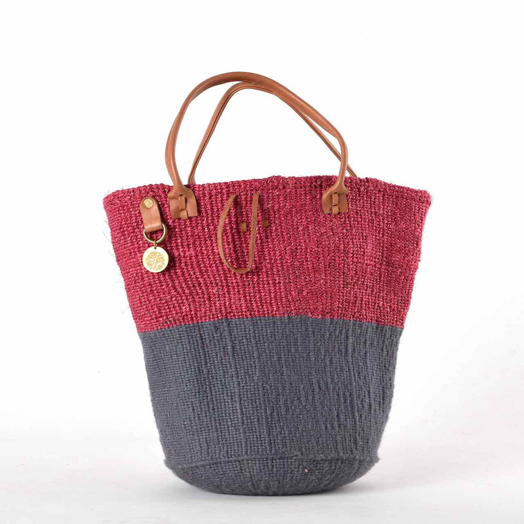 Two-Tone bag made from sustainable materials - Sisal, Recycled Wool and Leather. In Pink & Grey.