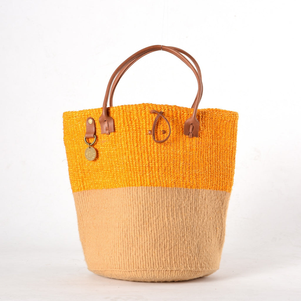 Two-Tone bag made from sustainable materials - Sisal, Recycled Wool and Leather. In Yellow & Natural.