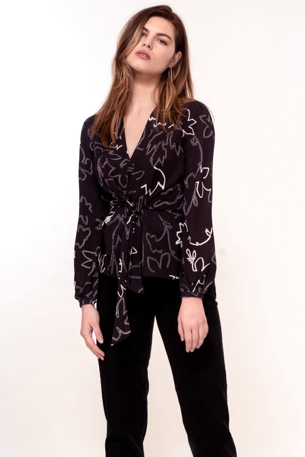 Nyssa Top - White Sketch Floral Print