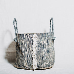 Blue Jute Basket With Handles