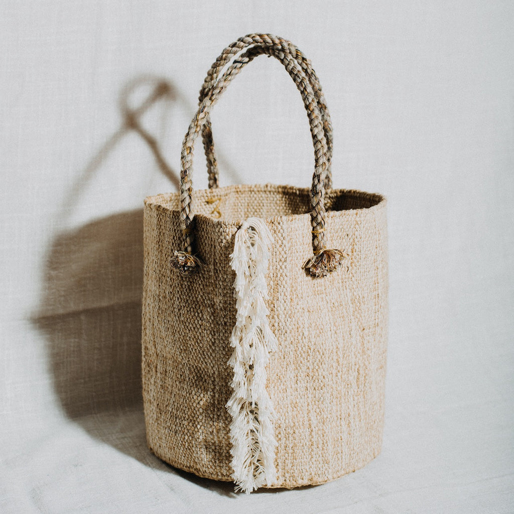 Beige Jute Basket With Handles