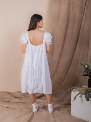 The Puffed Sleeve Tiered Dress - Whites