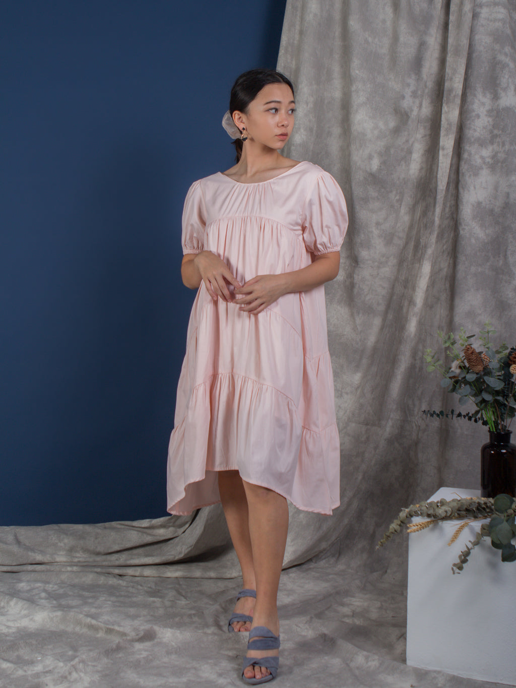 The Puffed Sleeve Tiered Dress - Blush