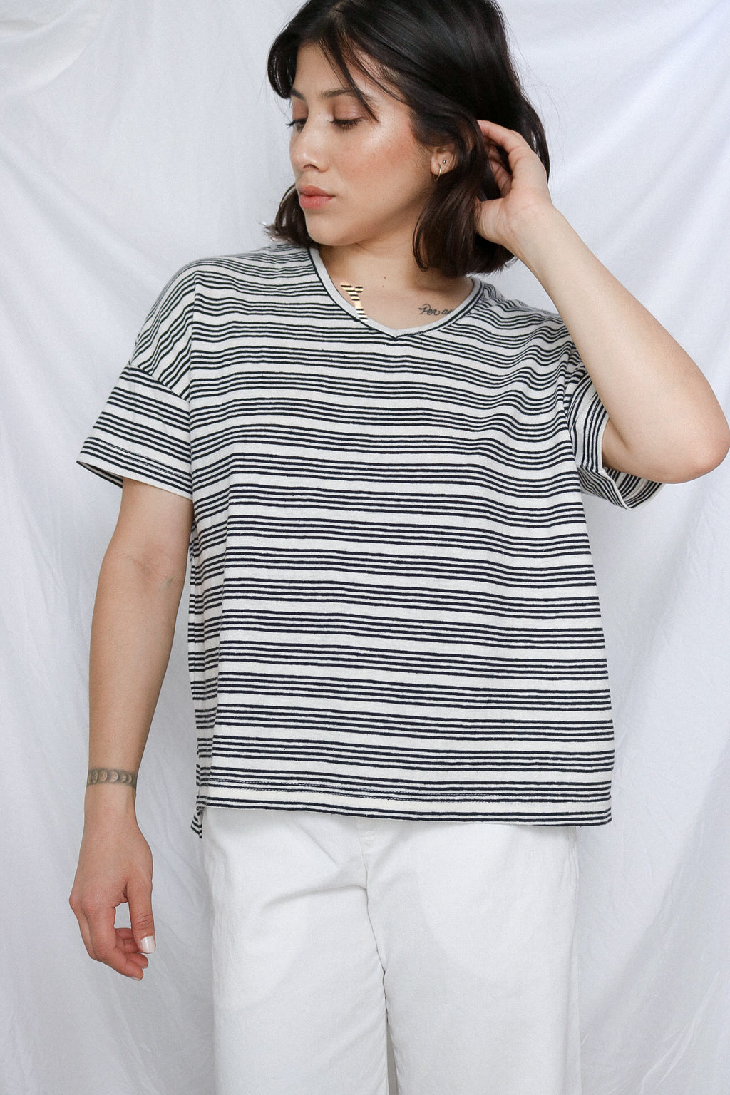 Striped V-Neck Tee - BW Striped
