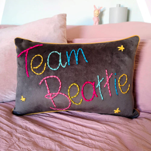Family Team Embroidered Cushion