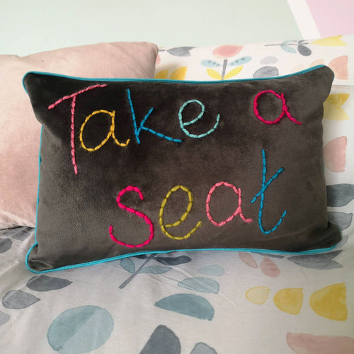 Take a Seat Embroidered Velvet Cushion