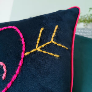 Love Heart Anniversary Embroidered Velvet Cushion