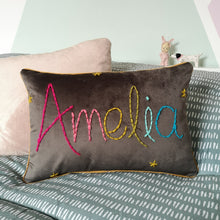 Load image into Gallery viewer, Rainbow Personalised Embroidered Cushion