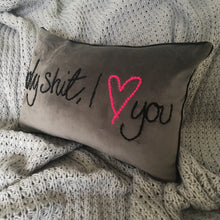 Load image into Gallery viewer, Holy Shit I love You Embroidered Velvet Cushion
