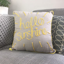 Load image into Gallery viewer, Hello Sunshine Embroidered Linen Cushion