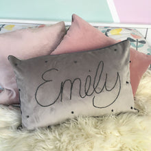 Load image into Gallery viewer, Personalised Embroidered Velvet Cushion, Choose Your Colours