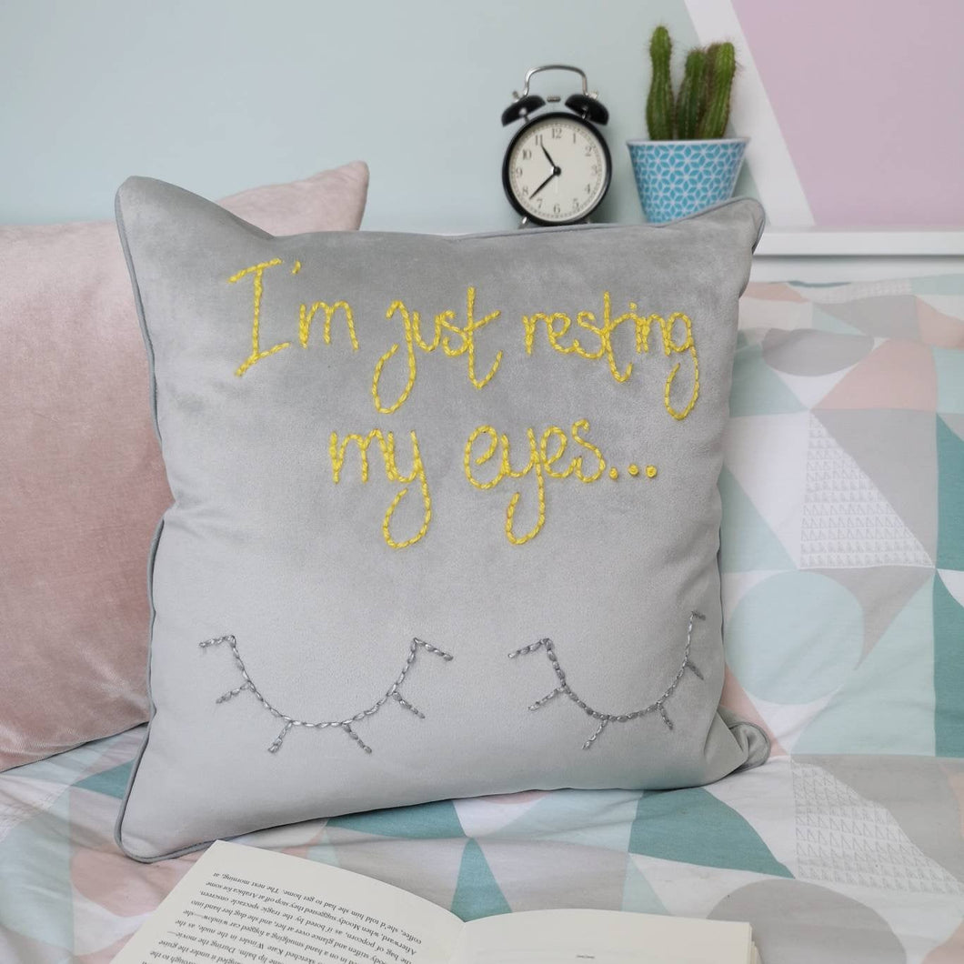 I'm Just Resting My Eyes Embroidered Velvet Cushion