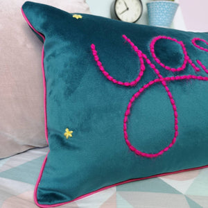 Yasss! Embroidered Colourful Velvet Cushion