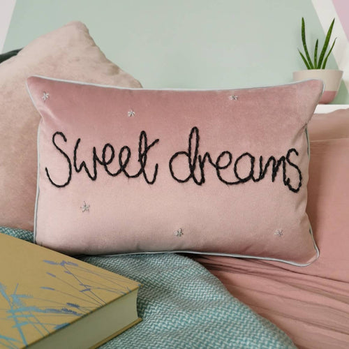 Sweet Dreams Embroidered Pink Velvet Cushion