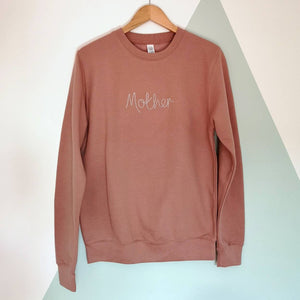 Mother Embroidered Dusky Pink Sweater