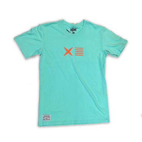 Cross Waves Tee - Aqua
