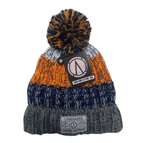 Chatel Knitted Beanie - Orange/Blue