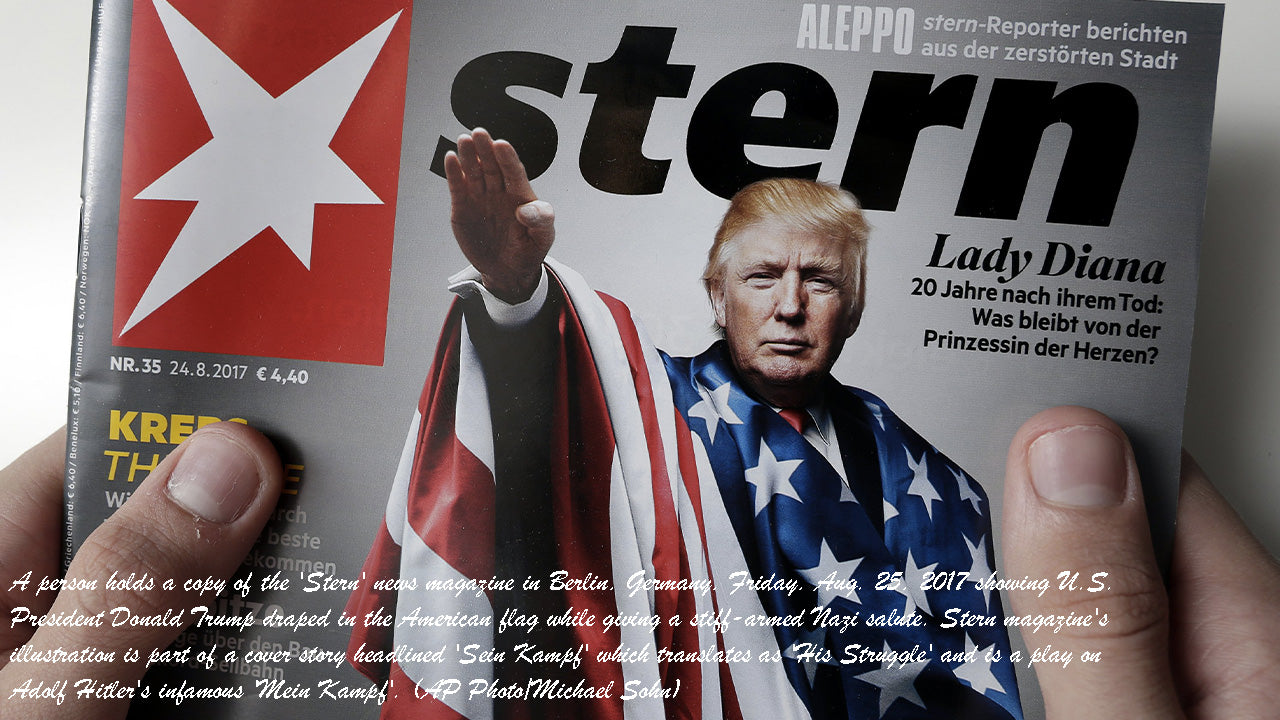 A person holds a copy of the 'Stern' news magazine in Berlin, Germany, Friday, Aug. 25, 2017 showing U.S. President Donald Trump draped in the American flag while giving a stiff-armed Nazi salute. Stern magazine's illustration is part of a cover story headlined 'Sein Kampf' which translates as 'His Struggle' and is a play on Adolf Hitler's infamous 'Mein Kampf'. (AP Photo/Michael Sohn)