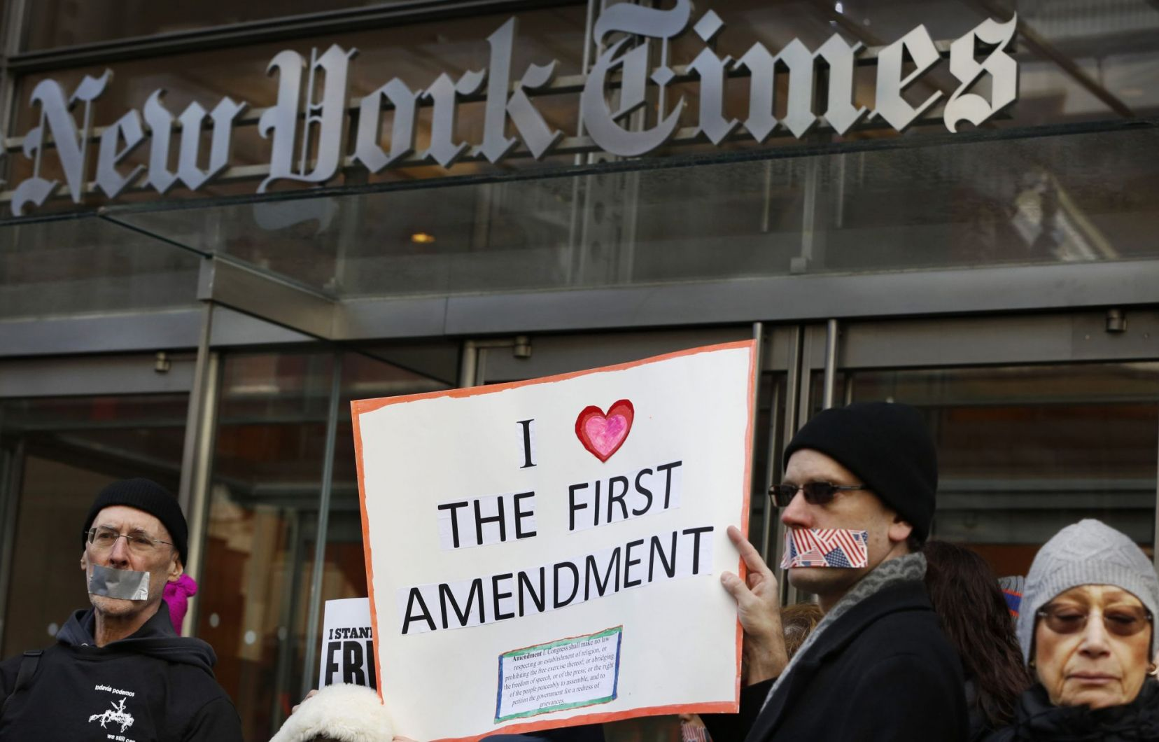 A few hundred people gathered on Sunday outside the offices of the New York Times to denounce Donald Trump's dealings with the media.  | Net Worth Space