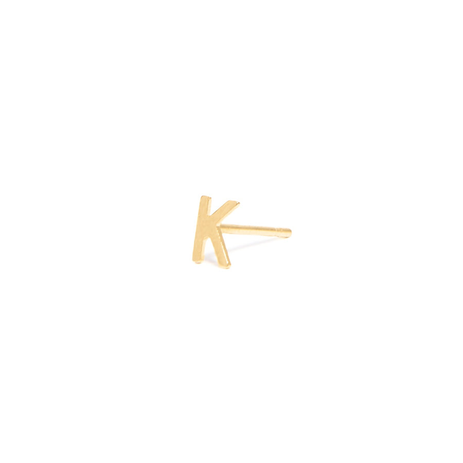 14k Yellow Gold Single Initial Earring