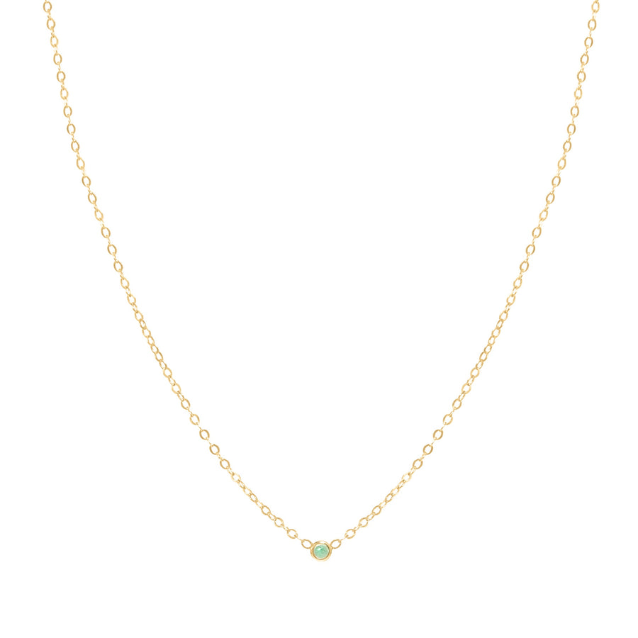 10k Yellow Gold August Birth Stone Bezel Necklace