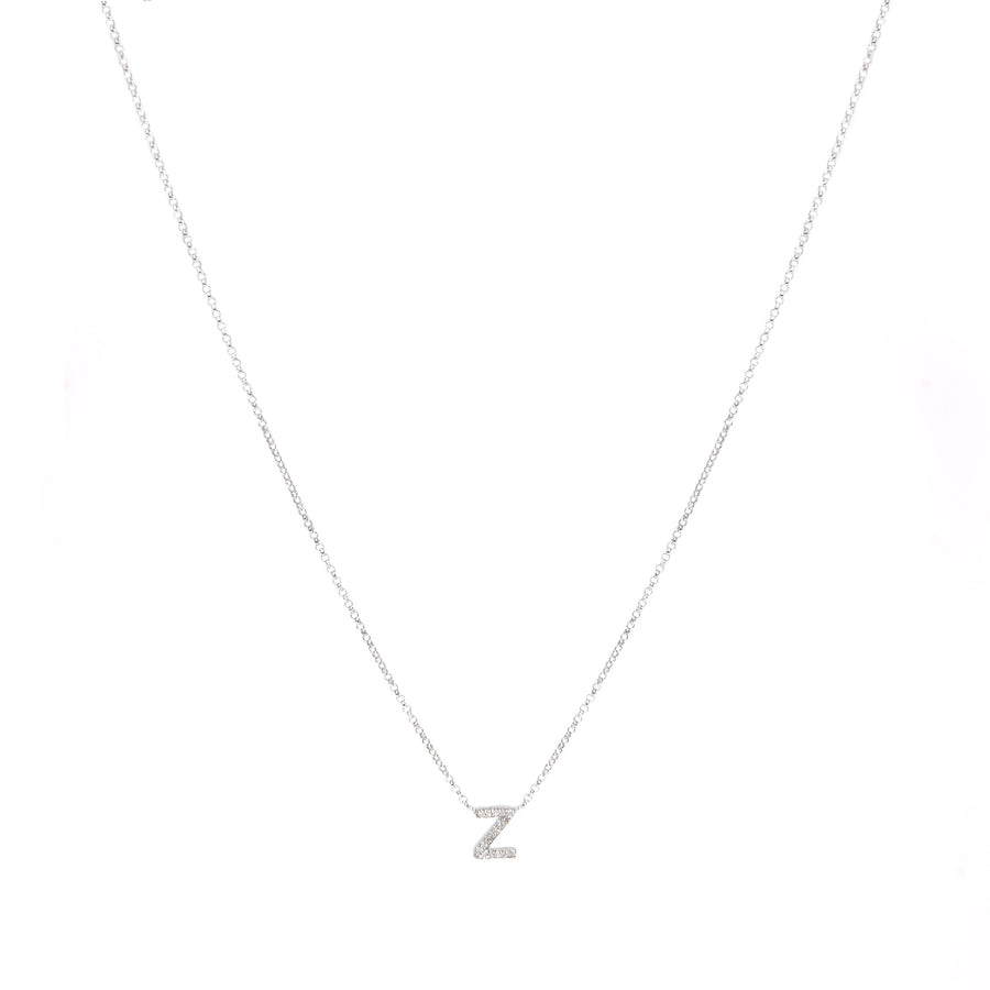 White Gold Single Diamond Initial Necklace