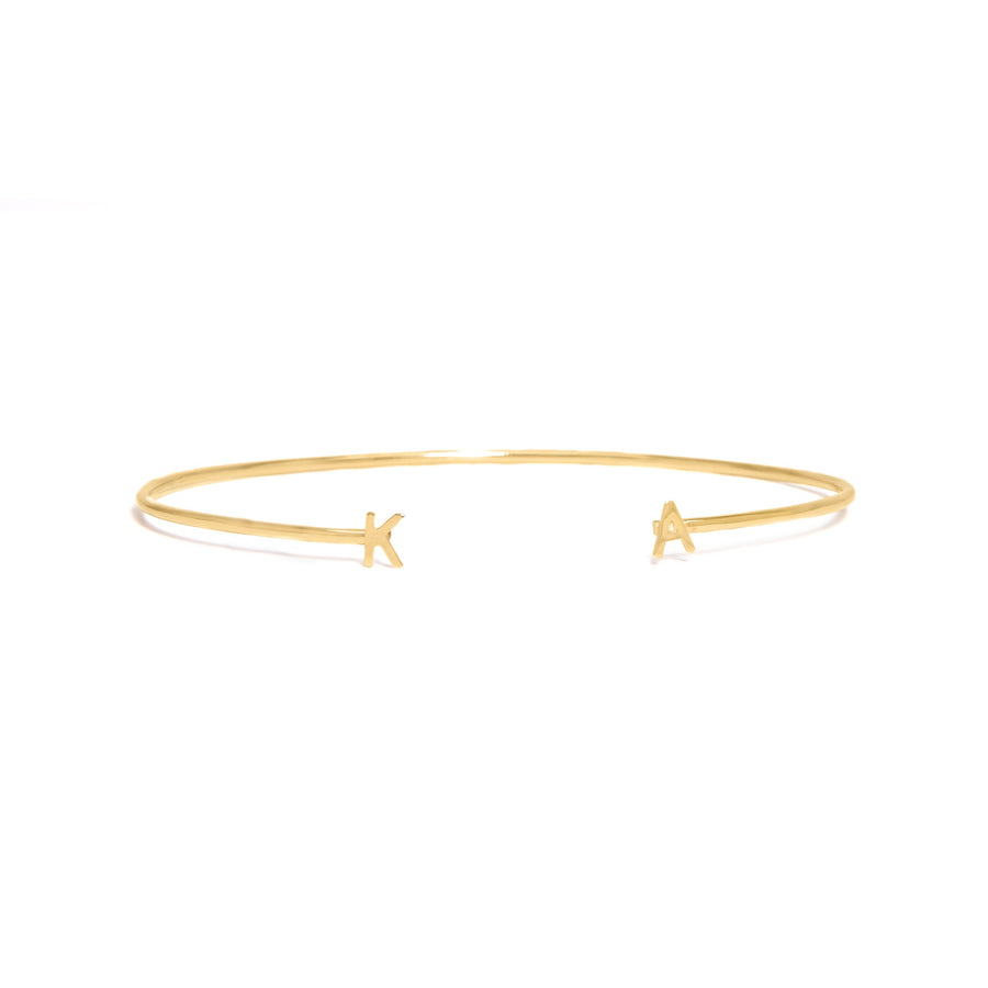 10K Yellow Gold Double Initial Bangle