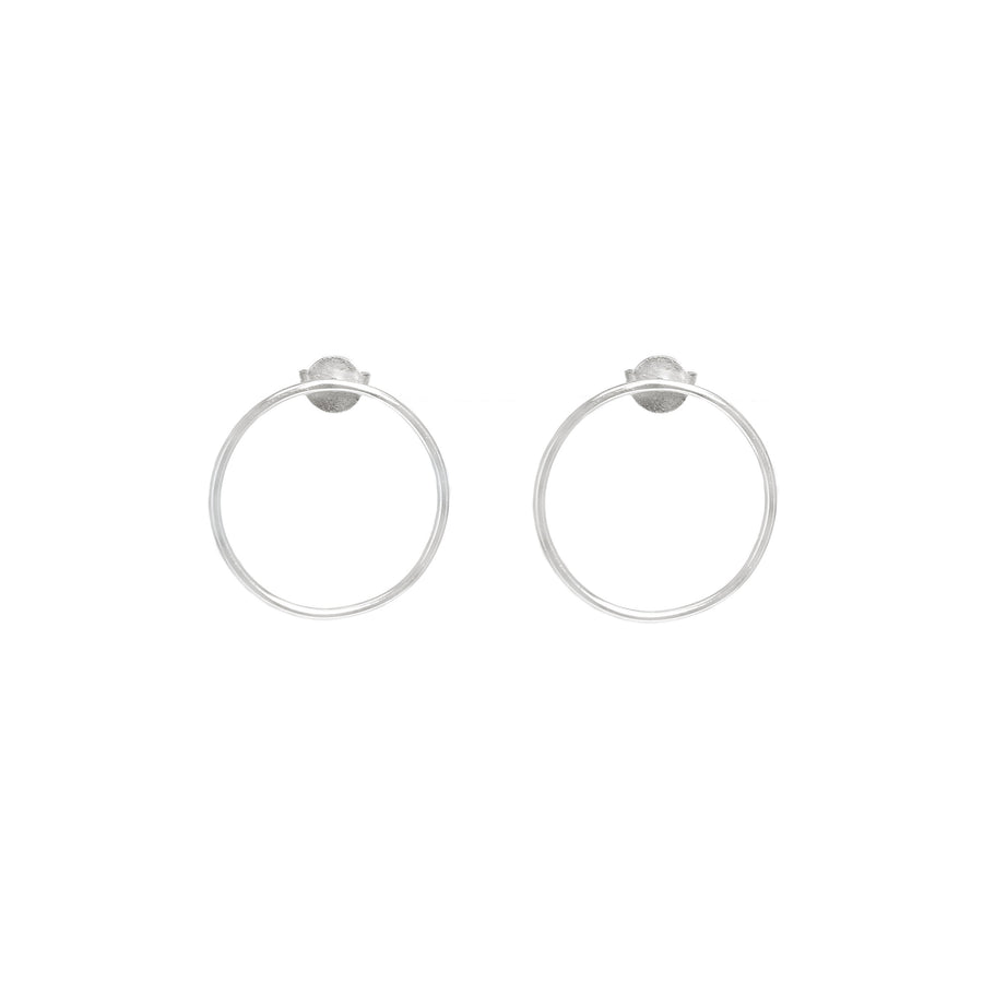 10k White Gold Forward Facing Hoops