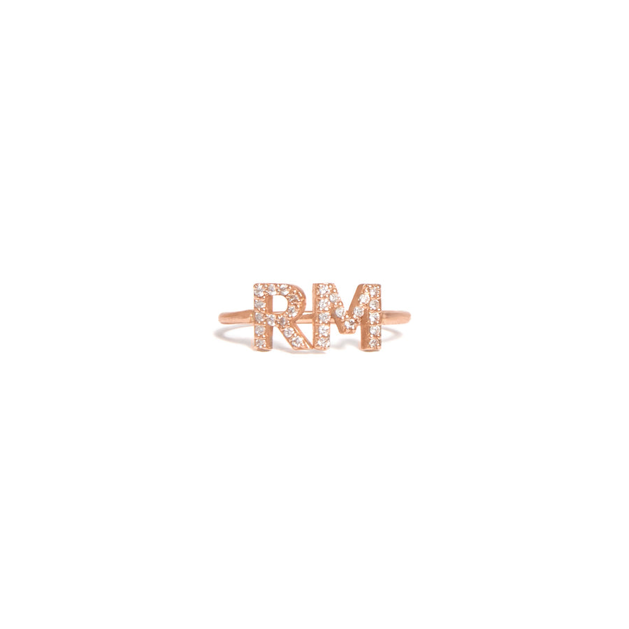 14k Rose Gold Double Diamond Initials Ring