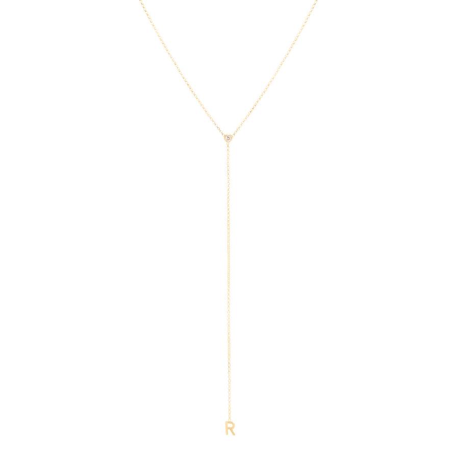 10k Yellow Gold Lariat Single Initial Necklace