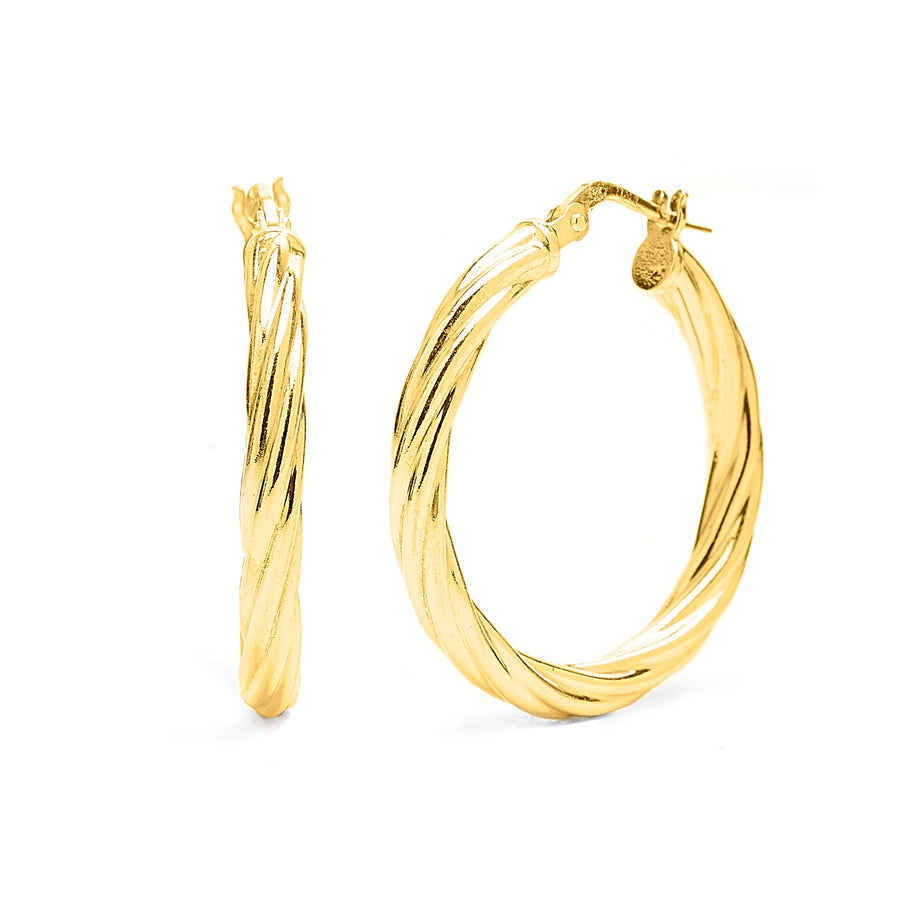 10k Yellow Gold Twisted Hoops