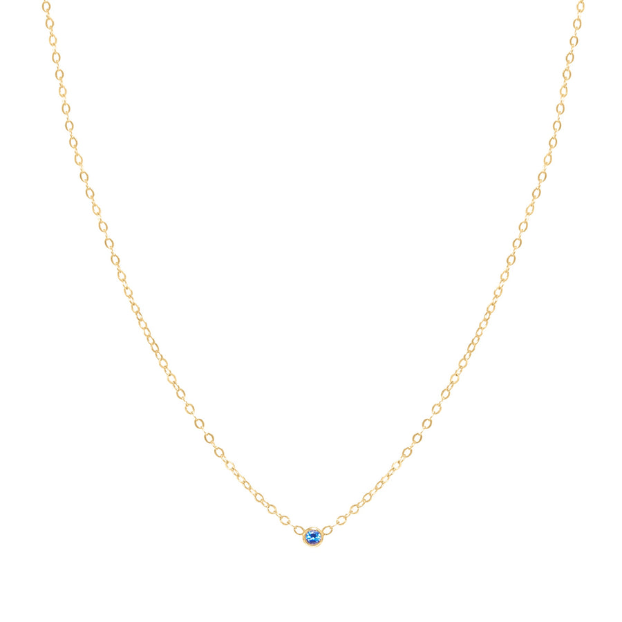 10k Yellow Gold September BirthStone Bezel Necklace