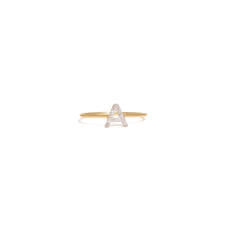 Yellow Gold Single Diamond Initial Ring