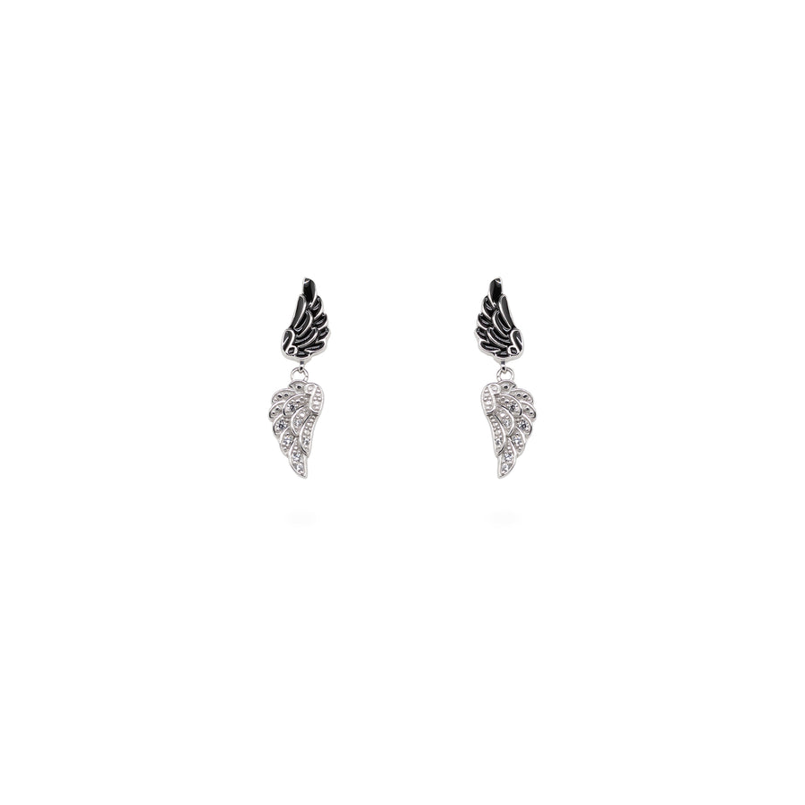 Double Angel Wing Black & White Earrings