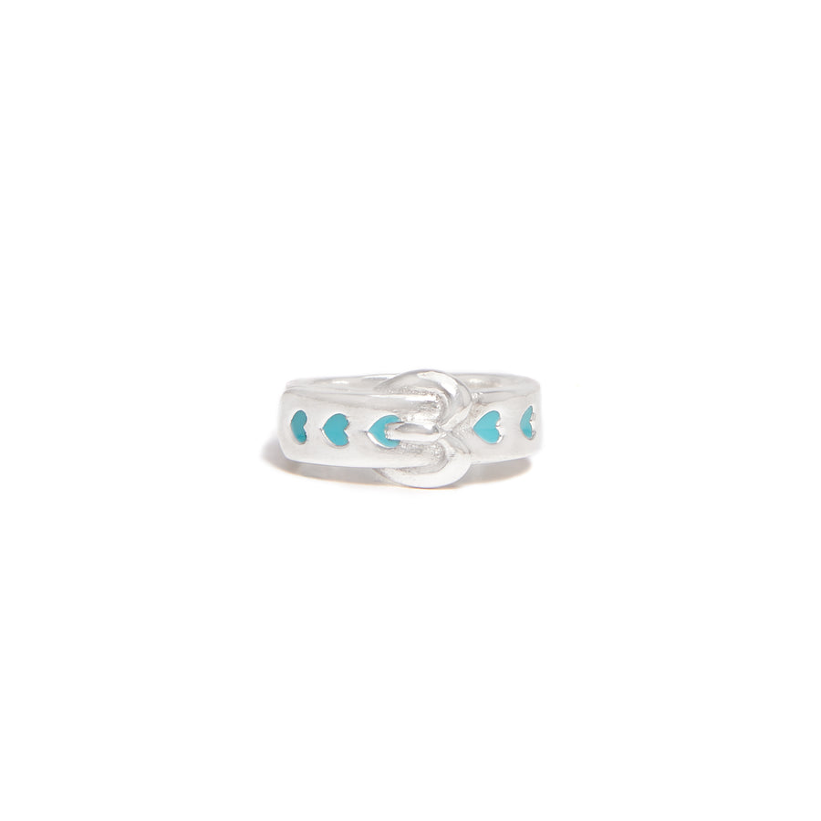 Heart Buckle Ring with Blue Enamel