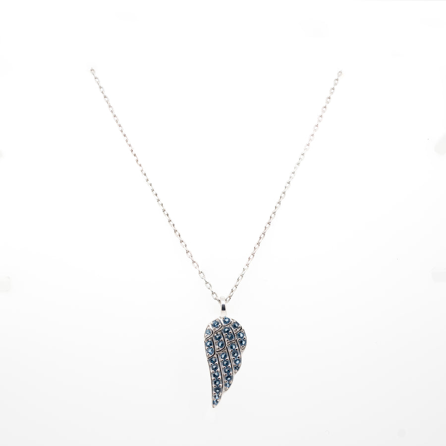 Silver Angel Wing Birthstone Pendant
