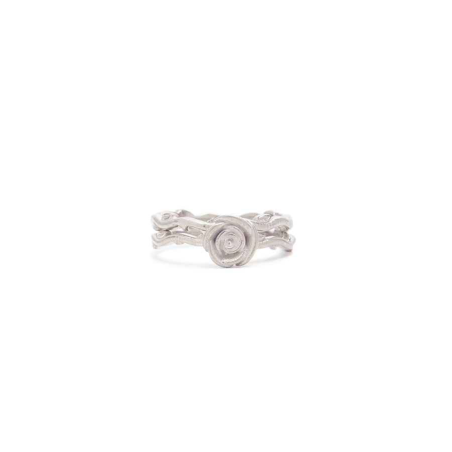 Wild Rose Solitaire Double Vine Ring