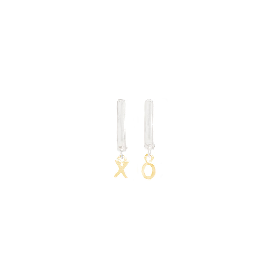 Huggs and Kisses Oval Initial Earrings