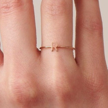 stackable single initial gold ring
