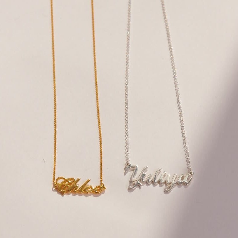 gold and silver name necklace