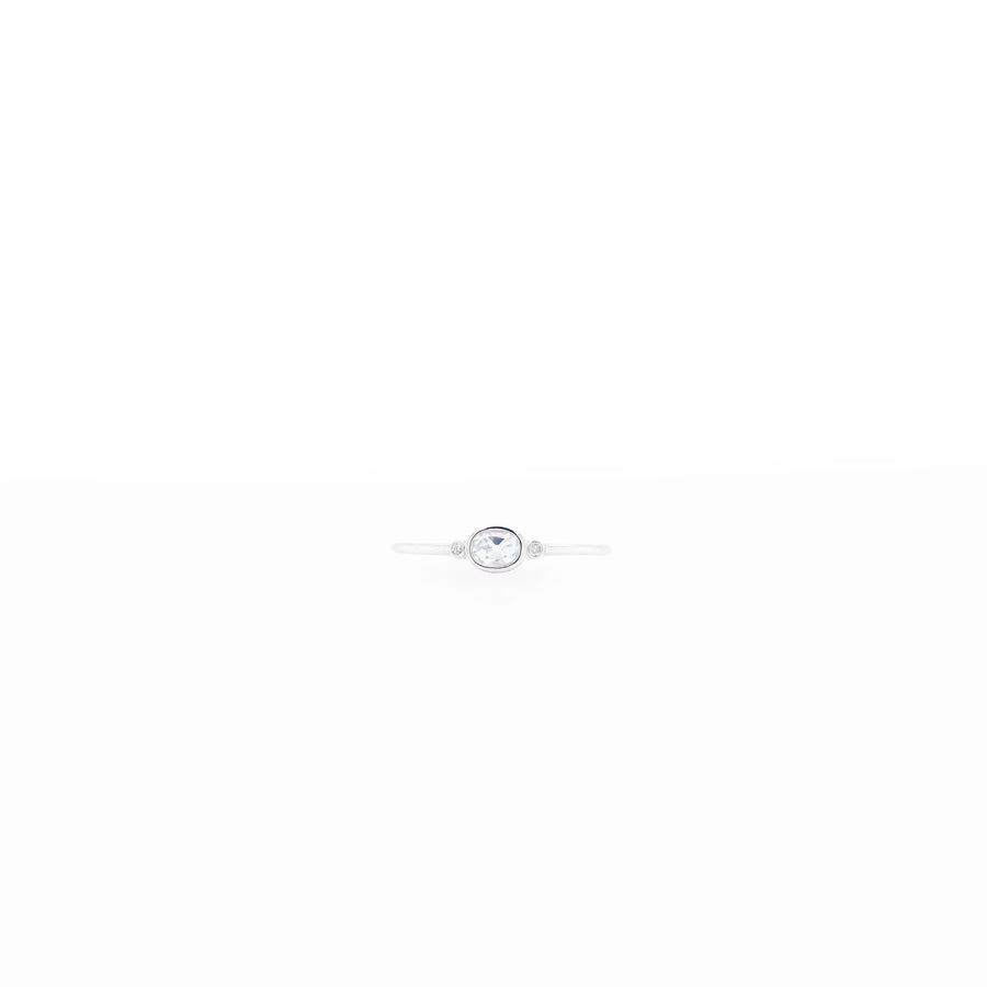 4x3mm Round Bezel Setting Stone with 0.005ct Side Diamonds Silver Birthstone Ring