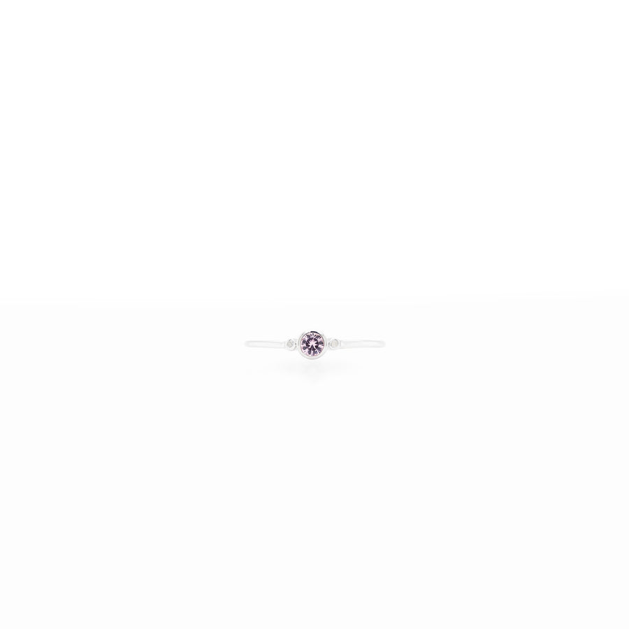 3mm Round Stone with 0.005ct Diamonds Birthstone Ring
