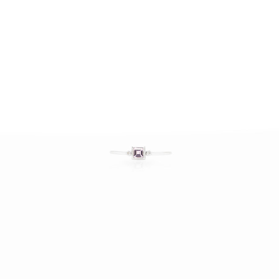 3x3mm Square Stone with 0.005ct Side Diamonds Silver Birthstone Ring