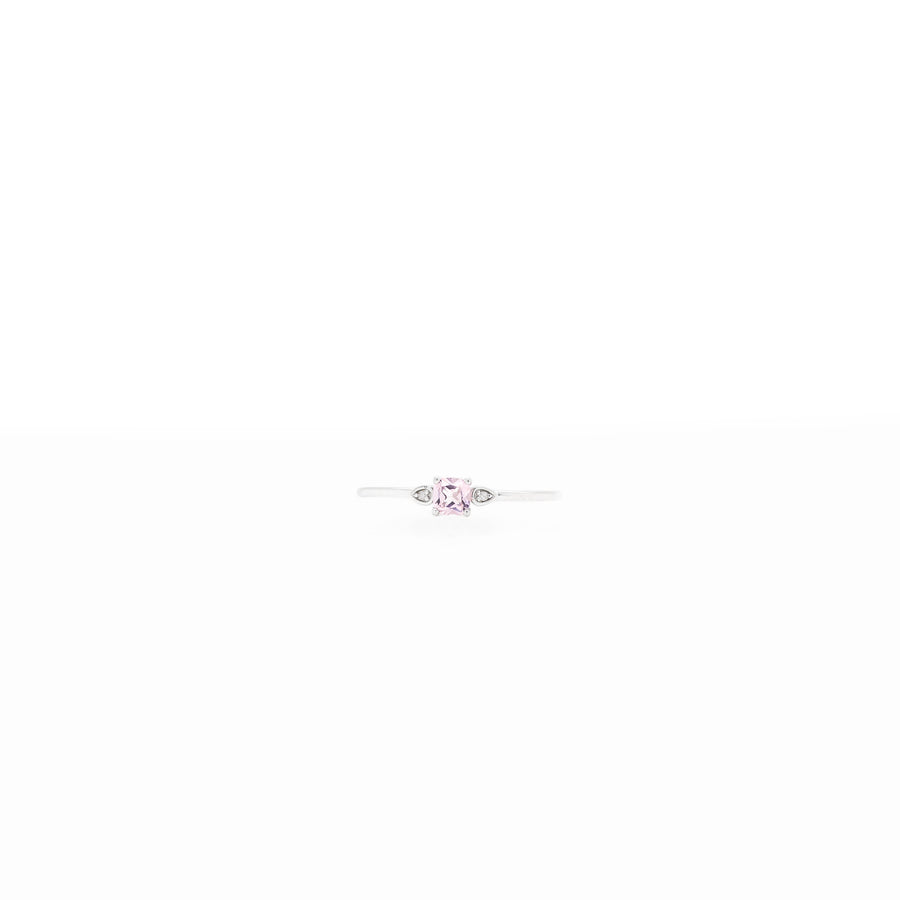 3.5x3.5mm Cushion Stone with 0.005ct Side Diamonds Birthstone Ring