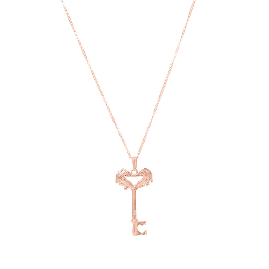 Rose Gold Head Skeleton Key Necklace