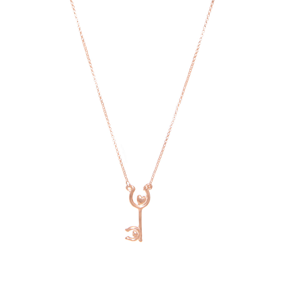 Luv Equestrian Skeleton Heart Key Necklace